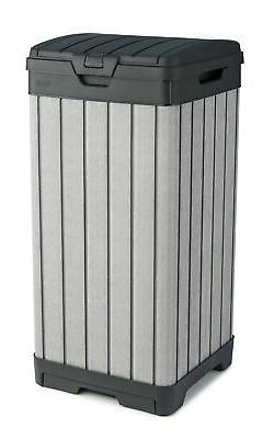 KETER Rockford Resin 38 Gallon Trash Can with Lid and Drip T