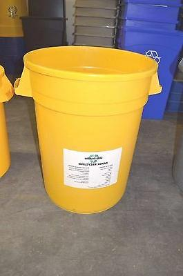 round trash or recycling container yellow blue