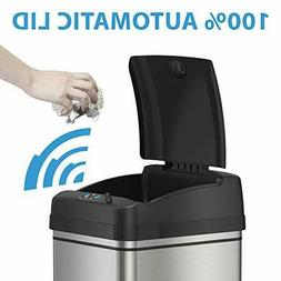 iTouchless Stainless Steel Touchless Trash Can, Model DZT-13