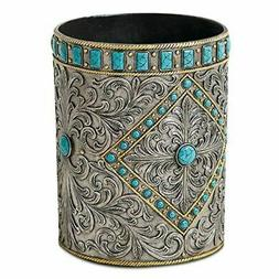 Turquoise and Silver Studded Western Wastebasket